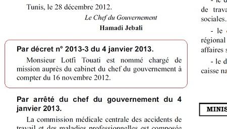 JORT, Lotfi Touati nommé chargé de mission auprès du cabinet de Jbali