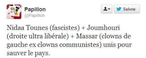 Tweet, coalition  Al Joumhouri, Al Massar et Nidaa Tounès