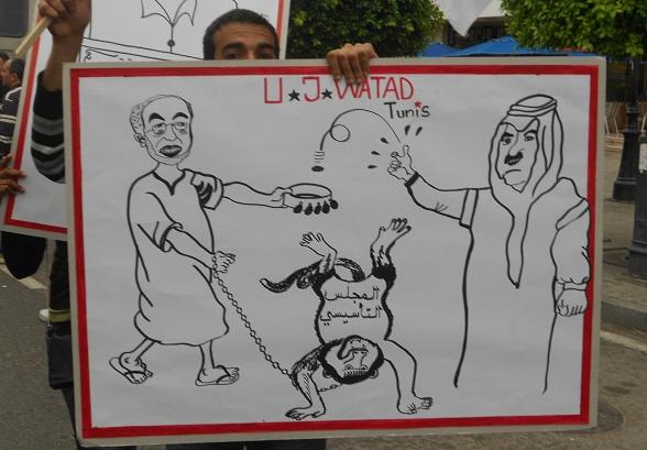 Caricature Ghannouchi, Av. Bourguiba, 01-05-13 - photo (Webdo-B.Abdelmoumen)