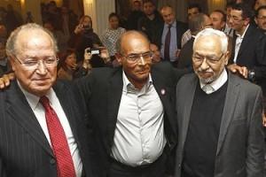 Marzouki-Ghannouchi-ben Jaafar (photo - The Times)