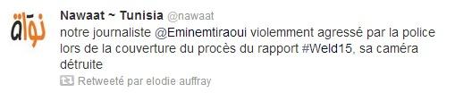 Tweet, agression journaliste de Nawaat, proces Weld 15 - 13-06-13
