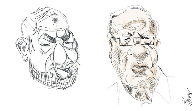 R. Ghannouchi vs B. C. Essebsi - (caricature El-Berbech)