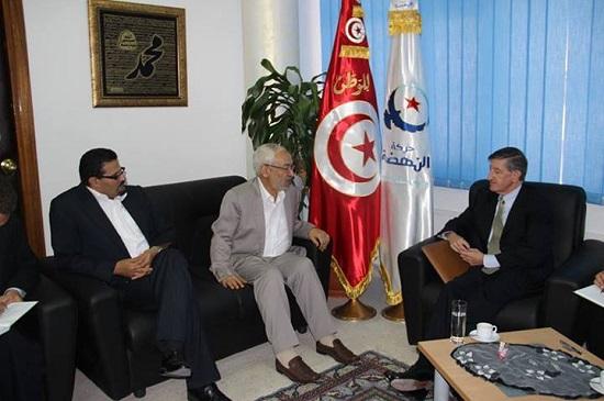 Ghannouchi-Jacob Wells (Crédit photo page Facebook Ennahdha)