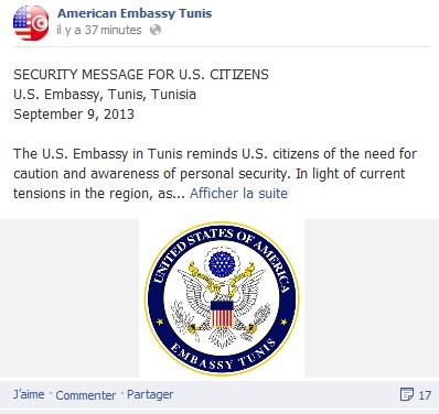 Communiqué Ambassade USA