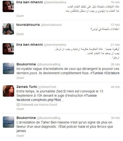 Tweets, arrestations, 09-09-13