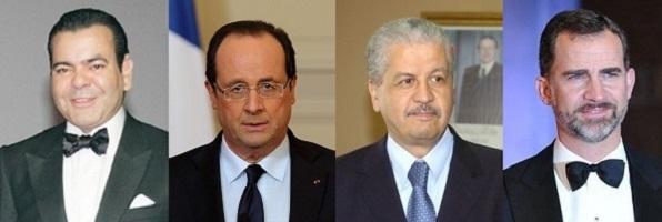Moulay Rachid - François Hollande - A. Sellal - prince Felipe