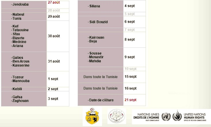 Calendrier Festival de la paix 2014 Tunisie