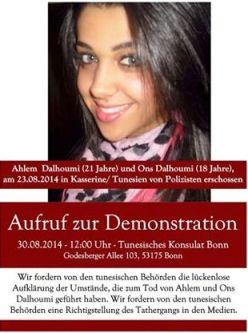 Appel à une manifestation devant le consulat tunisien à Boon en Allemagne pour Ahlem et Ons Dalhoumi (Photo de Ahlem)