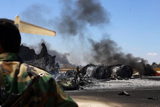 les aeroports libyens detruits (credit photo AFP)