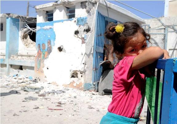 Ecole élementaire Jabalia à Gaza, bombardée par Israel le 30 juillet 2014. Au moins 72.000 enfants traumatisés à Gaza. © Shareef Sarhan/UNRWA Archives