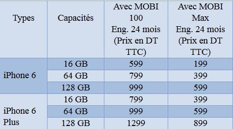 tarifs iphone6 TT