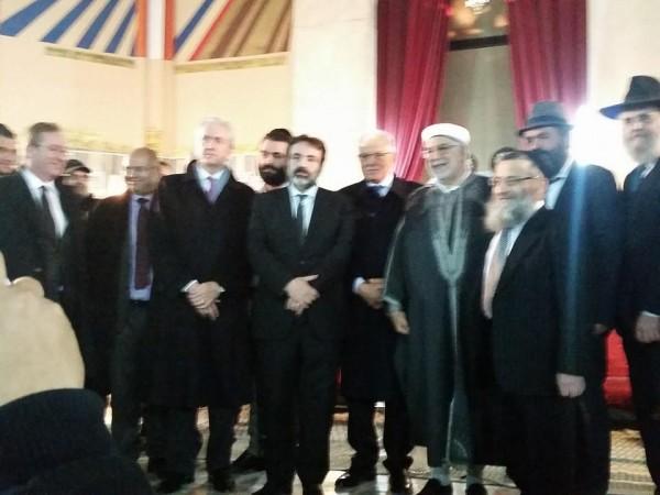 Abdelfattah Mourou, Kamel Morjane et François Gouyette à la synagogue de Tunis | Crédit : Aviel Haddad