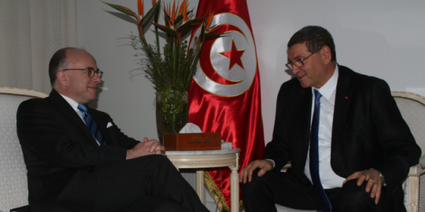 le ministre de l int 233 rieur fran 231 ais bernard cazeneuve 224 tunis