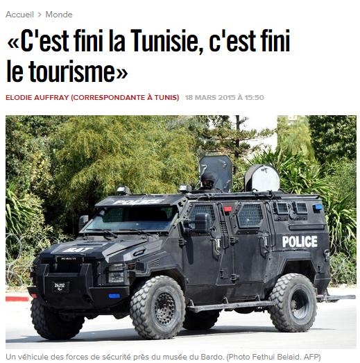 La Une de Libération après l'attaque au musée du Bardo