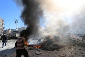 Une explosion dans la ville syrienne d'Alep, le 5 mars 2015 - AFP