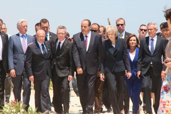 Les ministres de l'intérieur tunisien, français, allemand et britannique à Sousse | Photo : Khaled Nasraoui