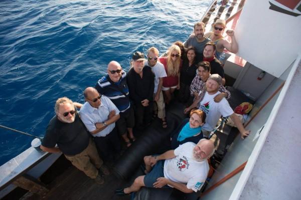Moncef Marzouki à bord de la flottille pour la liberté III