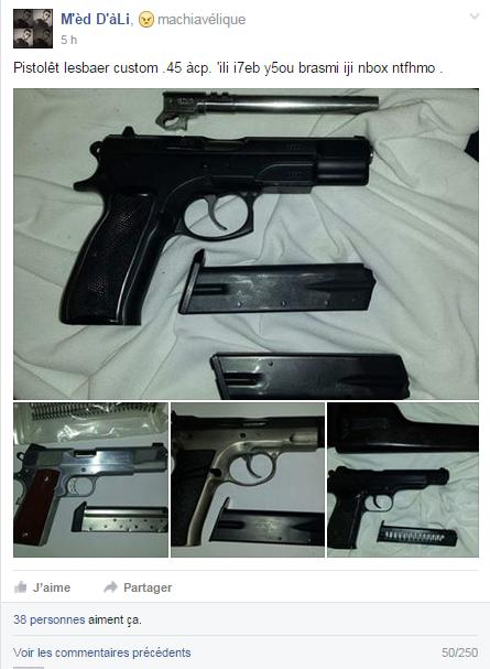 vente d'armes sur facebook