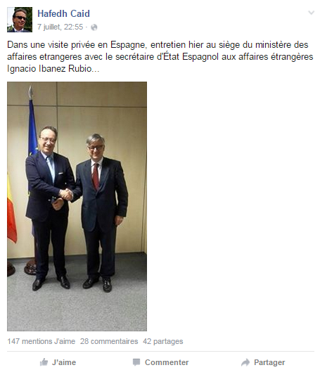 Hafedh Caid Essebsi en visite en Espagne