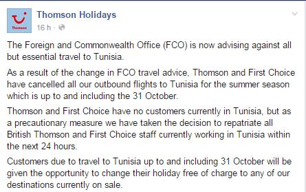 Thomson Holidays annule ses réservations vers la Tunisie