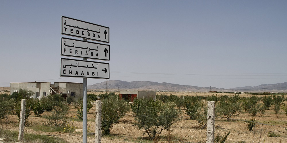In this photo taken on June 25, 2013 a road sign shows the direction to the Algerian city of Tebessa with the mountains of Jebel Chaambi in the distance. Gunmen ambushed a Tunisian army patrol Monday July 29, 2013 in a mountainous border region known as a militant stronghold, killing at least eight soldiers, the presidential spokesman said. (AP Photo/Paul Schemm)