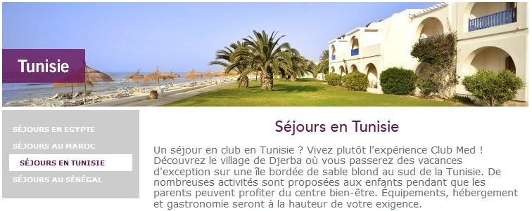 tourisme club med de retour en tunisie partir de juin 2016. Black Bedroom Furniture Sets. Home Design Ideas