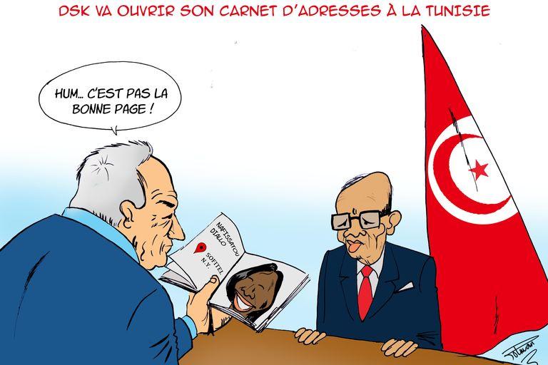 Le carnet d'adresses de DSK à la Tunisie, vu par le dessinateur Polman - credit le monde