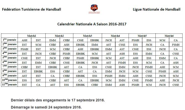 Calendrier Handball