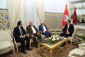 Rached Ghannouchi, Noureddine Bhiri et Zied Laadhari reçus par Youssef Chahed à Dar Dhiafa