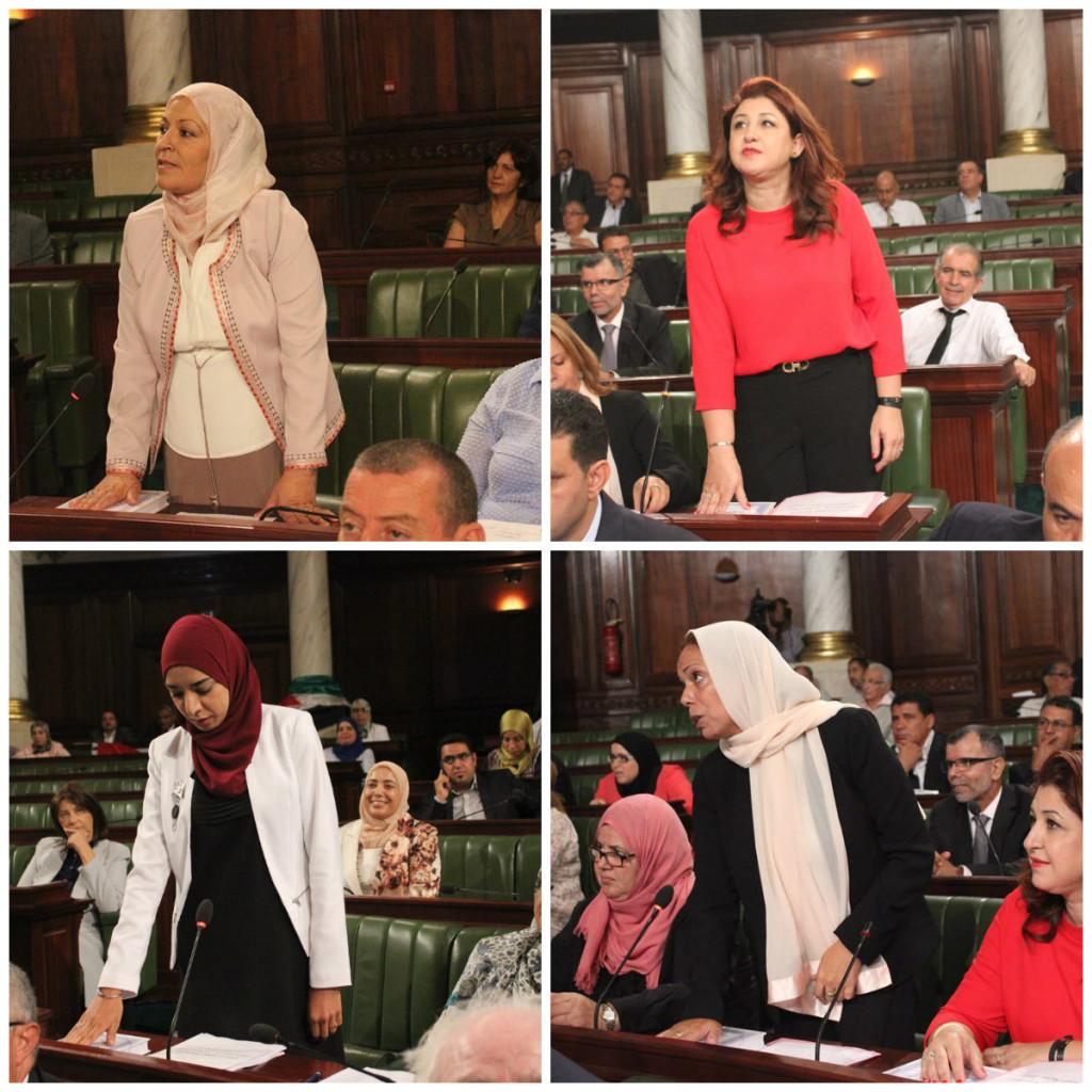 Députées ARP (1.Faten Oueslati / 2.Hager Becheikh Ahmed / 3.Karima Tagguez / 4.Lamia Dridi)