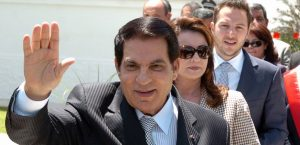 Tunisian President Zine El Abidine Ben Ali (front) waves to wellwishers after voting for the municipal elections next to his wife Leila (C) and his son-in-law the Tunisian businessman Sakhr Materi (R) on May 9, 2010 in Tunis. Polls opened in Tunisia on May 9, 2010, for municipal elections in which the ruling party of long-time President Zine El Abidine Ben Ali is widely tipped to come out victorious. AFP PHOTO/ FETHI BELAID / AFP / FETHI BELAID