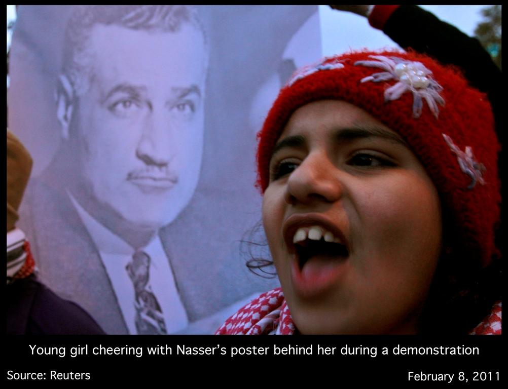 Jeune fille manifestant avec portrait Gamel Abdel Nasser
