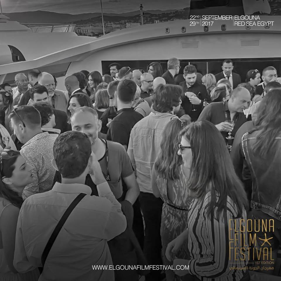 Reception donnée sur le yacht de M.Naguib Sawiris à Cannes pour lancer le Festival du Film d'El Gouna