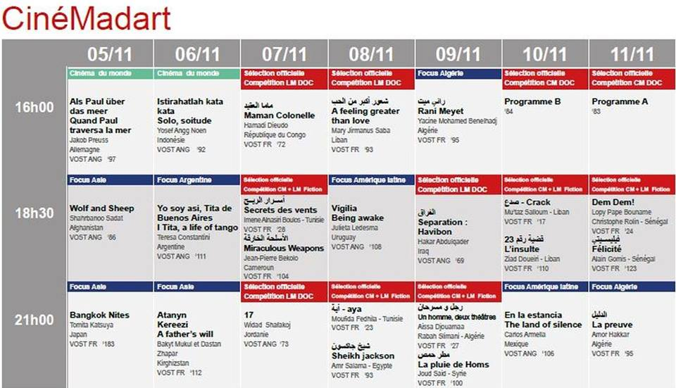 Programme de la salle CineMadart