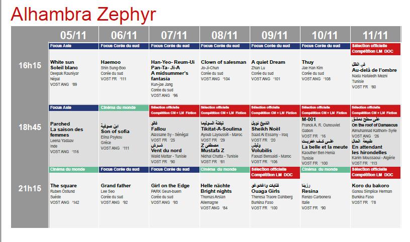 Programme de la salle AlHambra Zephyr