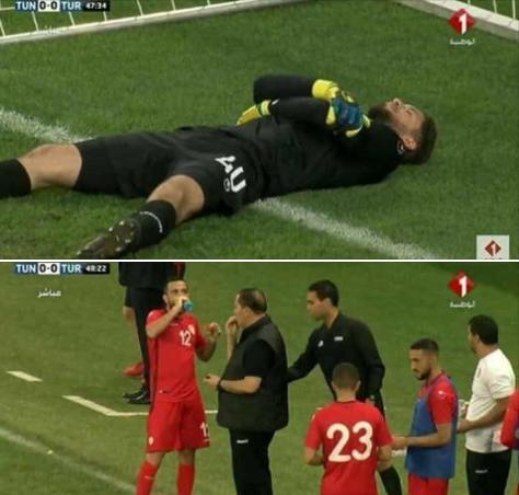 Le gardien tunisien simule une blessure pour rompre le jeûne — Insolite