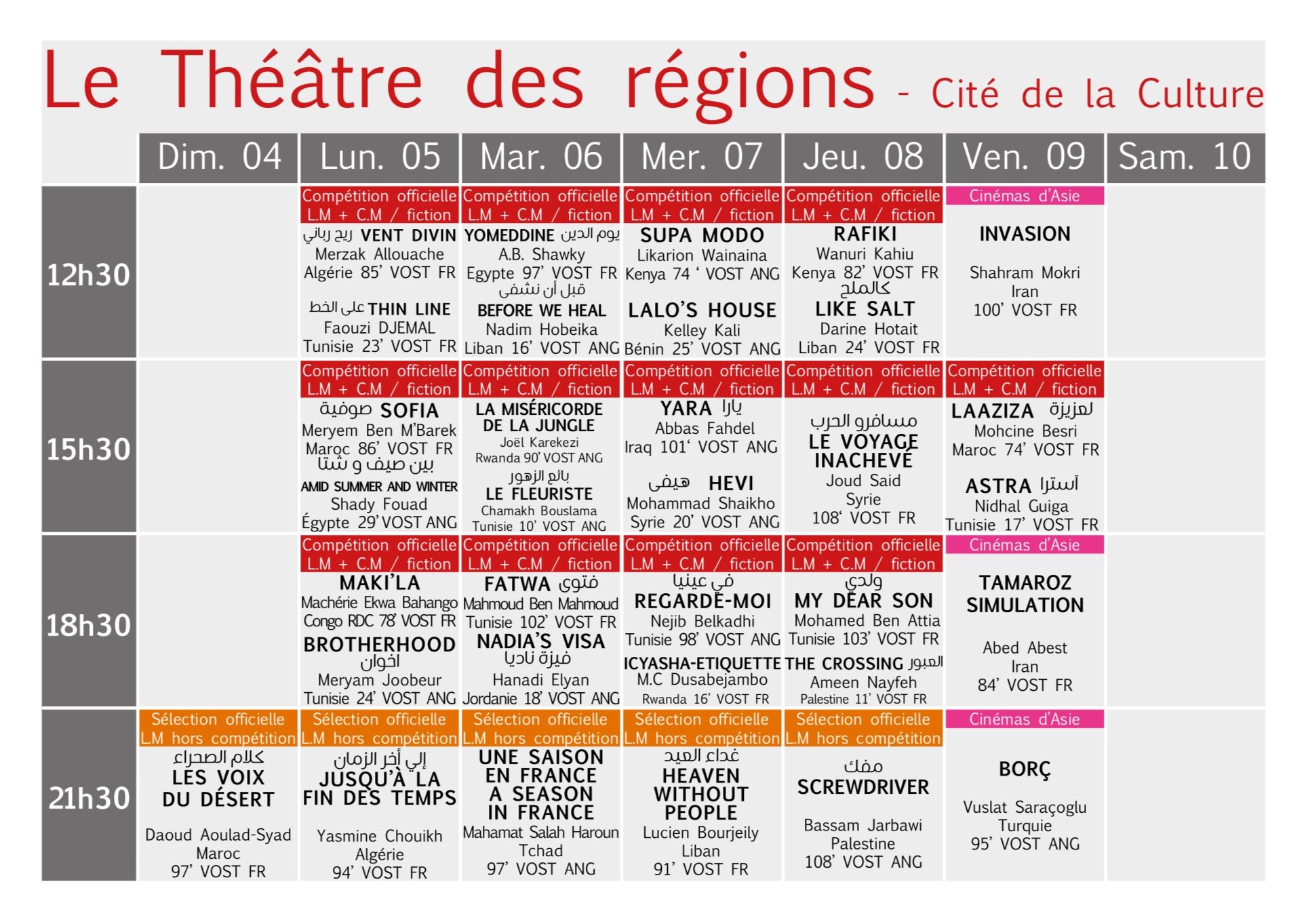 Programme des Jcc 2018