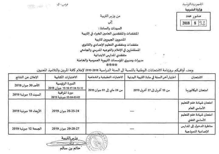 Tunisie Calendrier Des Examens Nationaux 2018 2019
